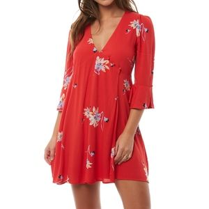 Free People Time On My Side Floral Print Wrap Mini